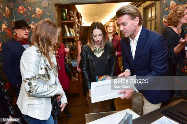 Lucinda Loya Jessica Johnson and Designer Spiros Soulis attend the Marble Accessories Debut by Designer Spiros Soulis on the Seventh Floor at...