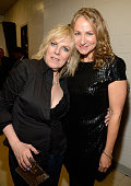Lucinda Williams and Joan Osborne backstage at the 'Love For Levon' Benefit To Save The Barn at Izod Center on October 3 2012 in East Rutherford New...