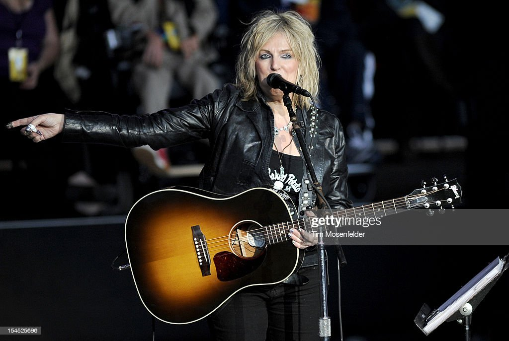 <a gi-track='captionPersonalityLinkClicked' href=/galleries/search?phrase=Lucinda+Williams&family=editorial&specificpeople=1321669 ng-click='$event.stopPropagation()'>Lucinda Williams</a> performs as part of the 26th Annual Bridge School Benefit at Shoreline Amphitheatre on October 20, 2012 in Mountain View, California.