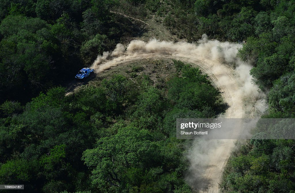 Lucio Alvarez and co-driver Ronnie Graue of team Toyota compete in stage 9 from Tucuman to Cordoba during the 2013 Dakar Rally on January 14 in Tucuman, Argentina.