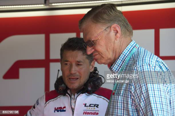 Lucio Cecchinello of Italy and LCR Honda MotoGP speaks in box with Jan Witteveen of Netherlands during the MotoGp of Austria Free Practice at Red...