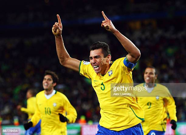 Lucio of Brazil celebrates scoring the winning goal during the FIFA Confederations Cup Final between USA and Brazil at the Ellis Park Stadium on June...
