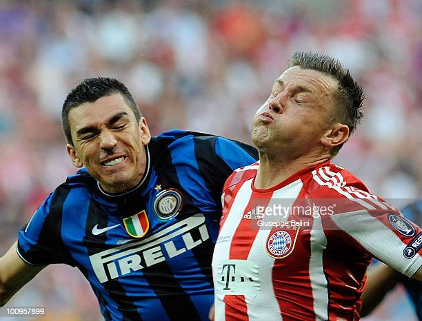 Lucio of Inter Milan and Ivica Olic of FC Bayern Muenchen in action during the UEFA Champions League Final match between FC Bayern Muenchen and Inter...