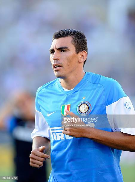 Lucio of Inter Milan warms up prior to their World Football Challenge match against Chelsea FC at the Rose Bowl on July 21 2009 in Pasadena California