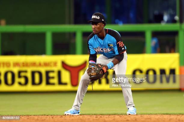 Lucius Fox of the World Team plays defense at shortstop during the SirusXM AllStar Futures Game at Marlins Park on Sunday July 9 2017 in Miami Florida