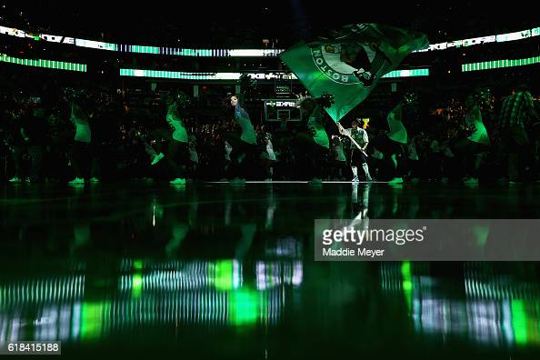 Lucky and the Celtics Dancers perform before the game between the Boston Celtics and the Brooklyn Nets at TD Garden on October 26 2016 in Boston...