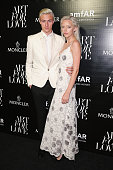 Lucky Blue Smith and Pyper America Smith attends a private viewing and dinner for Art For Love 32 Photographers Interpret The Iconic Moncler Maya...