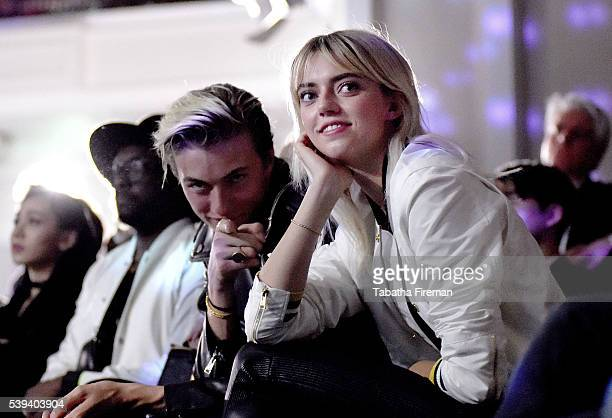 Lucky Blue Smith and Pyper America Smith front row for the MCM x Christopher Raeburn SS17 show at Grand Connaught Rooms on June 11 2016 in London...