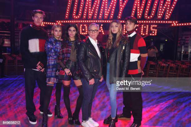 Lucky Blue Smith Hailey Baldwin Sara Sampaio Tommy Hilfiger Gigi Hadid and Anwar Hadid attend the Tommy Hilfiger TOMMYNOW Fall 2017 Show during...