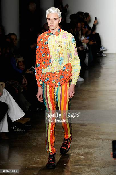 Lucky Blue Smith walks the runway at the Jeremy Scott fashion show during MADE Fashion Week Fall 2015 at Milk Studios on February 18 2015 in New York...