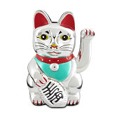 A figurine of a lucky cat, or Maneki Neko, very popular in China and the rest of the world and of Japanese origin.