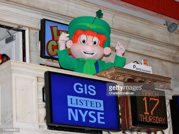 Lucky Charms' Lucky The Leprechaun rings the opening bell at the New York Stock Exchange on March 17 2011 in New York City