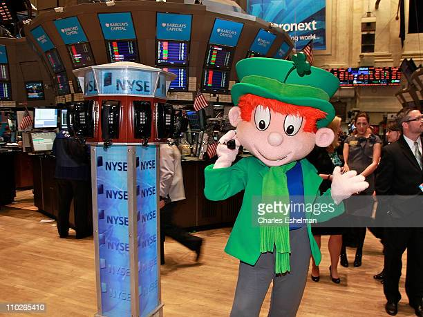 Lucky Charms' Lucky The Leprechaun visits the New York Stock Exchange on March 17 2011 in New York City