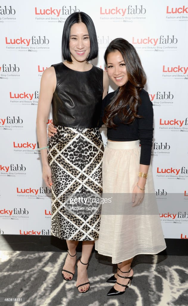 Lucky, Editor In Chief, Eva Chen (L) and Wendy Nguyen of Wendy's Lookbook attend Lucky