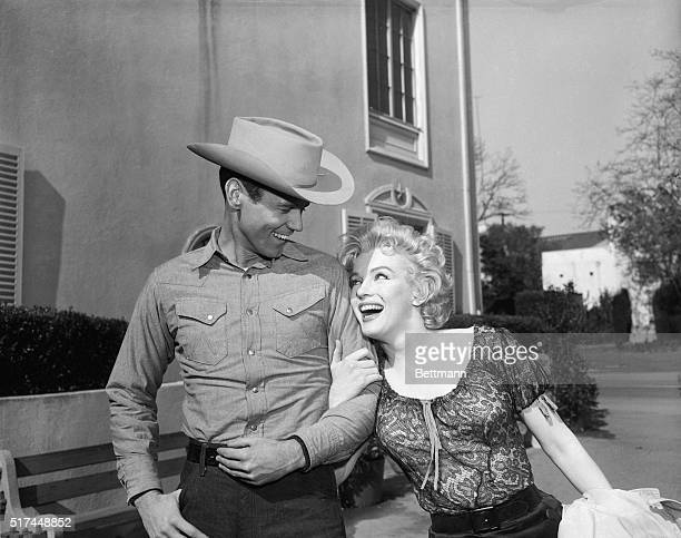 Lucky fellow on the left is actor Don Murray who has won the covted role of Bo who kidnaps Marilyn Monroe in the forth coming film Bus Stop Murray...