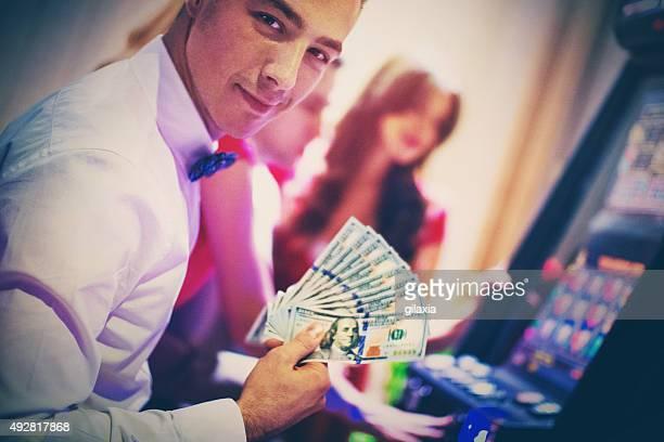 Lucky guy in casino.