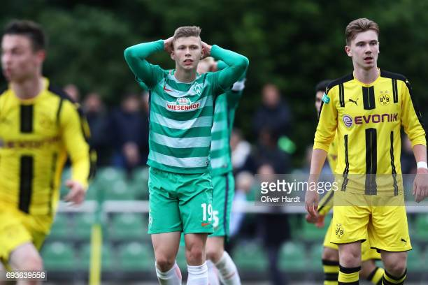 Lucky Ihorst of Bremen appears frustrated during B Juniors German Championship Semi Final between Werder Bremen and Borussia Dortmund on June 7 2017...
