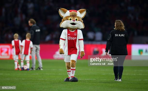 Lucky Lynx mascot of AFC Ajax during the UEFA Champions League Qualifying Third Round match between Ajax and OSC Nice at Amsterdam Arena on August 2...