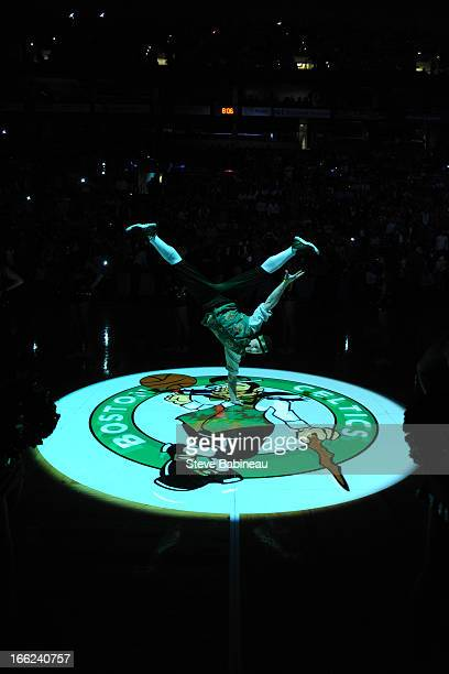 Lucky mascot of the Boston Celtics performs before the game against the Brooklyn Nets on April 10 2013 at the TD Garden in Boston Massachusetts NOTE...