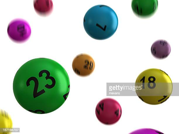 Lucky multicolored lottery balls falling from above