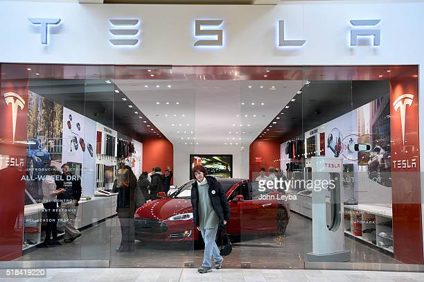 Lucky Shick 70 years old of Colorado Springs leaves the Tesla showroom at Park Meadows Mall March 31 2016 after she preordered the new Tesla due to...