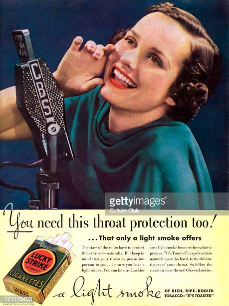 'Lucky Strike' 'Lucky Strike' advertisement for cigarettes 1937 Caption reads 'You need this throat protection tooÖ that only a light smoke offers A...