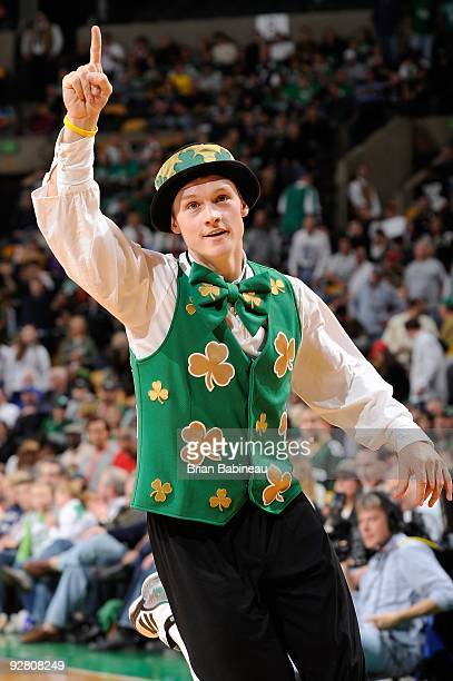 Lucky the Boston Celtics mascot performs during the game against the New Orleans Hornets on November 1 2009 at TD Banknorth Garden in Boston...