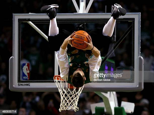 Lucky the Celtics mascot entertained the fans with some high flying acrobatic dunks during a break in the fourth quarter The Boston Celtics took on...
