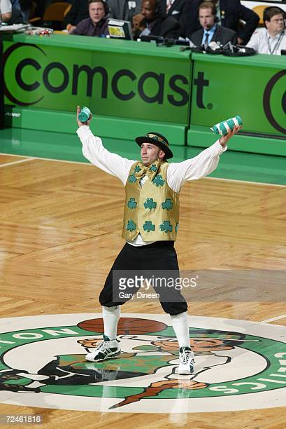 Lucky the Celtics mascot entertains the fans during a game between the Boston Celtics and the New Orleans/Oklahoma City Hornets at the TD Banknorth...