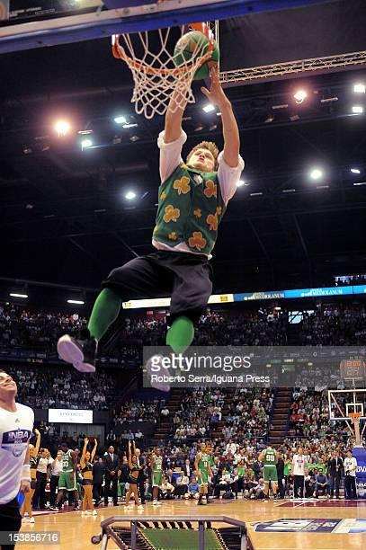 Lucky the Celtics mascot in action during the NBA Europe Live game between EA7 Emporio Armani Milano v Boston Celtics at Mediolanum Forum on October...