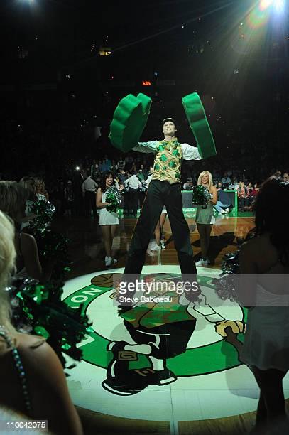 Lucky The Leprechaun Mascot of the Boston Celtics before a game against the Milwaukee Bucks on March 13 2011 at the TD Garden in Boston Massachusetts...