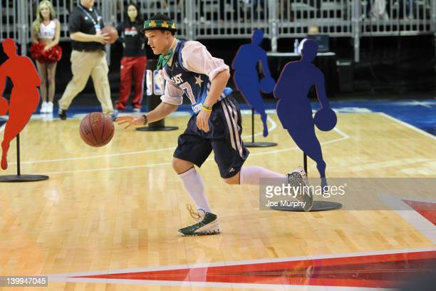 Lucky the Leprechaun Mascot of the Boston Celtics drives the ball during the Mascot Skills Challenge on center court at Jam Session during the NBA...