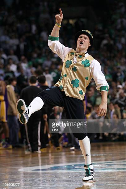 Lucky the mascot of the Boston Celtics performs against the Los Angeles Lakers in Game Three of the 2010 NBA Finals on June 8 2010 at TD Garden in...
