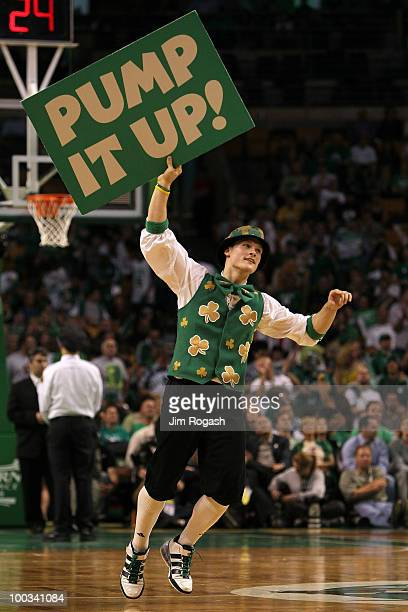 Lucky the mascot of the Boston Celtics performs against the Orlando Magic at TD Banknorth Garden in Game Three of the Eastern Conference Finals...