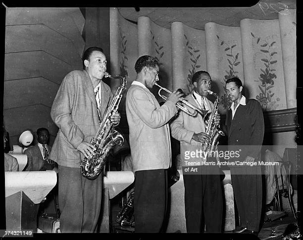 Lucky Thompson Dizzy Gillespie Charlie Parker and Billy Eckstine performing in the Aragon Ballroom Pittsburgh Pennsylvania August 1944