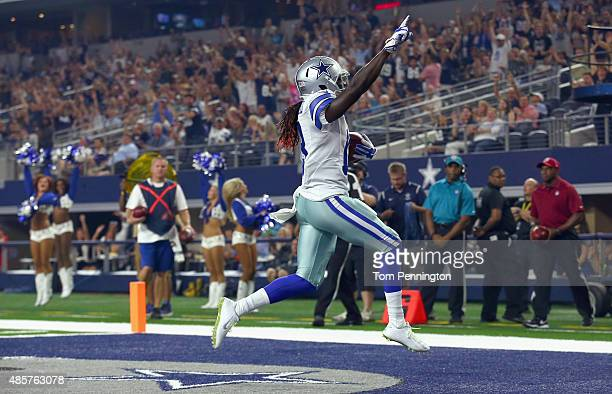 Lucky Whitehead of the Dallas Cowboys celebrates after scoring a touchdown against the Minnesota Vikings in the second quarter on August 29 2015 in...