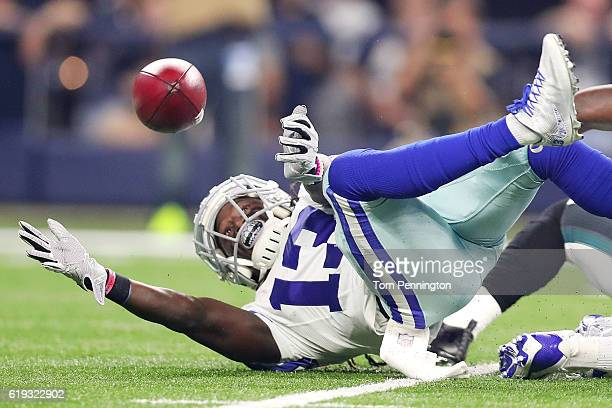 Lucky Whitehead of the Dallas Cowboys dives for the ball during the first quarter of a game between the Dallas Cowboys and the Philadelphia Eagles at...