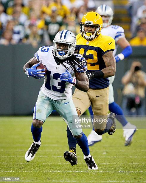 Lucky Whitehead of the Dallas Cowboys runs with the ball in the fourth quarter against the Green Bay Packers at Lambeau Field on October 16 2016 in...