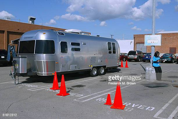 Lucky Y Brand Jeans trailer parked in the Mercedes Benz parking lot during Los Angeles Fashion Week on October 28 2004 in Culver City California