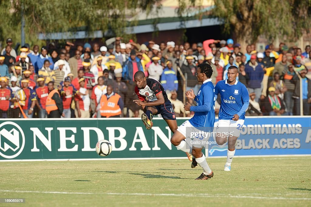 Luckyboy Mokoena and Sifiso Hlanti during the National First Division match between Black Aces and Thanda Royal Zulus from Themba Senamela Stadium on May 19, 2013 in Middelburg, South Africa.