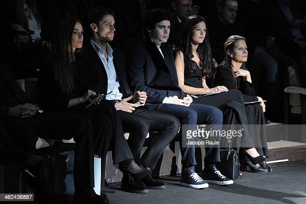 Lucrezia Guidoni Luca Dotto Leon Else and Nathalie Dompe attend the Emporio Armani show as a part of Milan Fashion Week Menswear Autumn/Winter 2014...