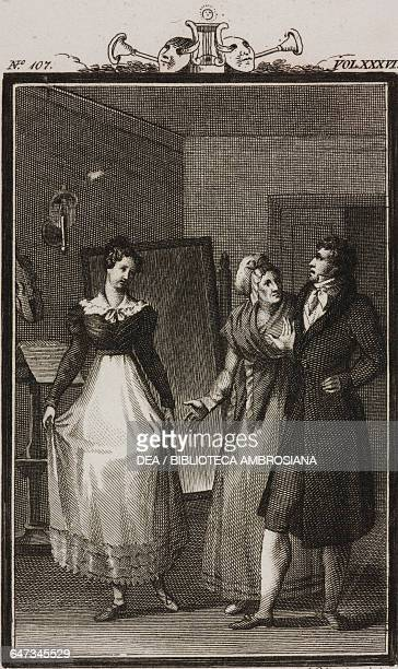 Lucrezia introducing her daughter Rosina to Monsieur Rigadon engraving by Antonio Viviani from a drawing by G Steneri from The Dance School Act I...