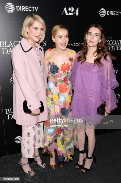Lucy Boynton Kiernan Shipka and Emma Roberts attend a screening of 'The Blackcoat's Daughter' hosted by A24 and DirecTV with The Cinema Society at...