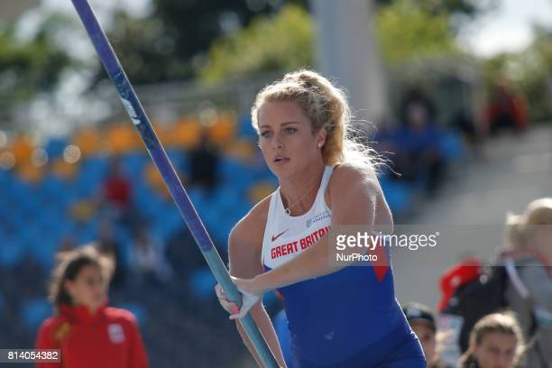 Lucy Brian from Great Britain competes in women's pole vault qualification round during the IAAF World U20 Championships at the Zawisza Stadium on...