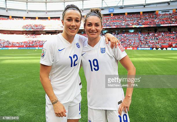 Lucy Bronze and Jodie Taylor of England look on after scoring the goals to beat Canada after the FIFA Women's World Cup 2015 Quarter Final match...