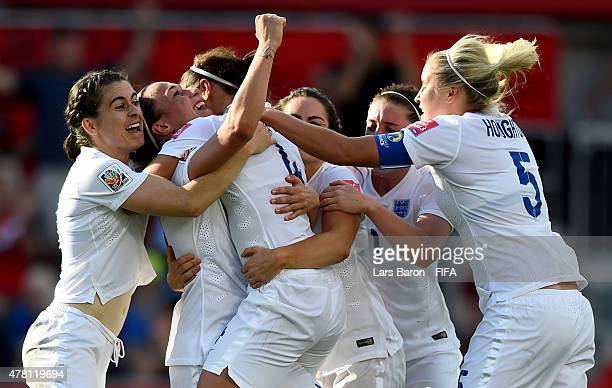 Lucy Bronze of England celebrates after scoring her teams second goal during the FIFA Women's World Cup 2015 Round of 16 match between Norway and...