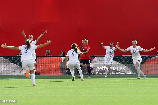 Lucy Bronze of England celebrates her goal with teammates against Norway during the FIFA Women's World Cup Canada 2015 round of 16 match between...