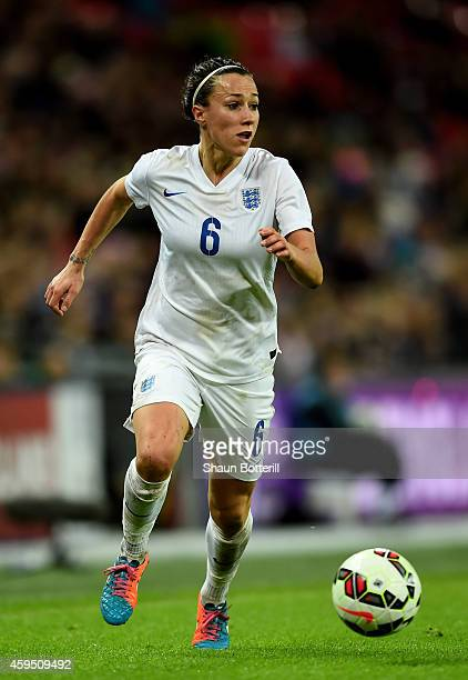 Lucy Bronze of England in action during the Women's International Friendly match between England and Germany at Wembley Stadium on November 23 2014...