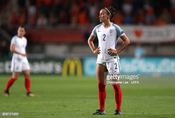 Lucy Bronze of England looks dejected following the UEFA Women's Euro 2017 Semi Final match between Netherlands and England at De Grolsch Veste...