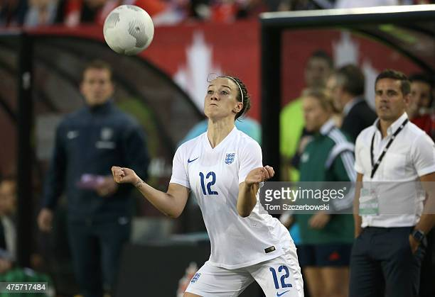 Lucy Bronze of England prepares to settle the ball against Canada during their Women's International Friendly match on May 29 2015 at Tim Hortons...
